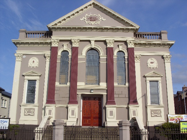 The front of the main church building